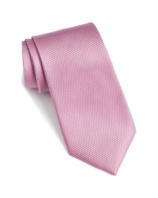 Calibrate | Pink 'madison' Solid Silk Tie for Men | Lyst