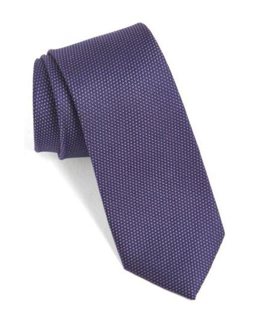 Calibrate | Purple 'madison' Solid Silk Tie for Men | Lyst