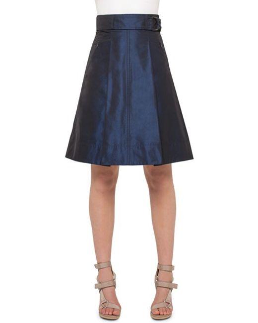 akris punto metallic a line skirt in blue lyst