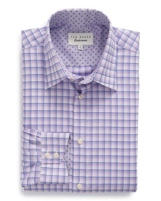 Ted Baker 39 Jora 39 Trim Fit Plaid Dress Shirt In Purple For
