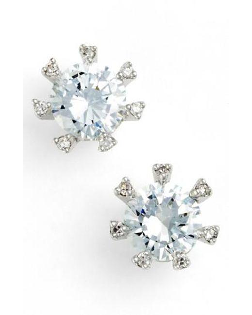 CZ by Kenneth Jay Lane | Metallic Embellished Prong Cubic Zirconia Stud Earrings | Lyst