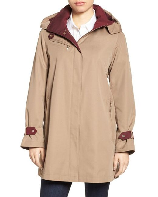 Gallery Water Repellent A-line Rain Jacket in Natural