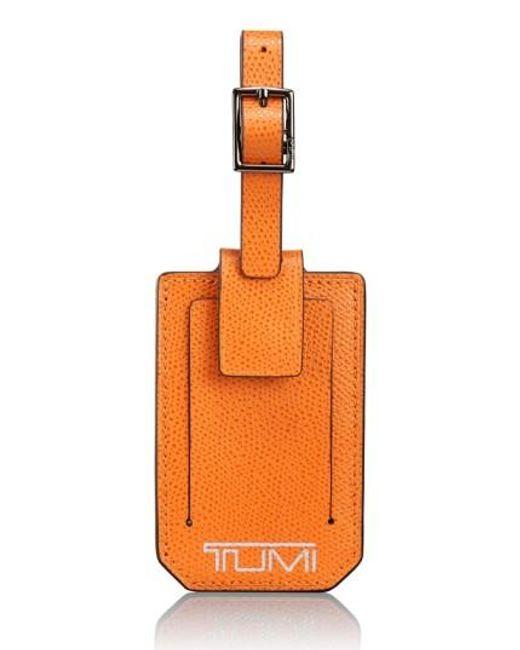 Tumi | Orange 'camden' Leather Luggage Tag | Lyst