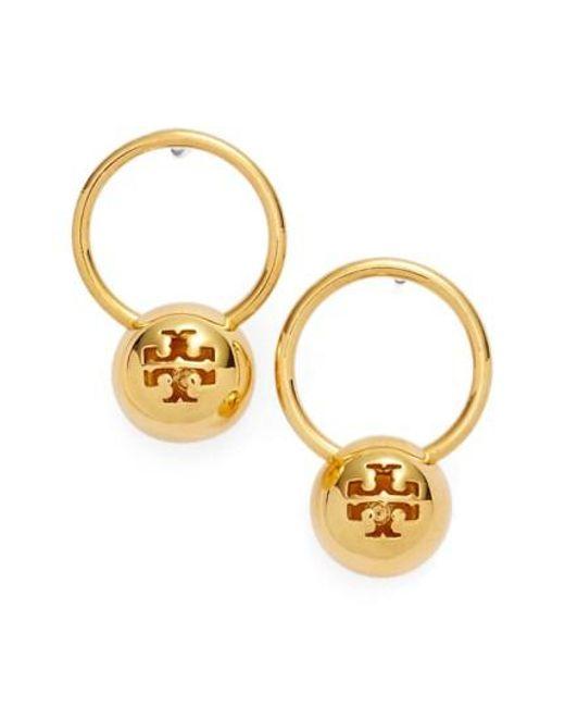Tory Burch | Metallic Logo Bead Drop Earrings | Lyst