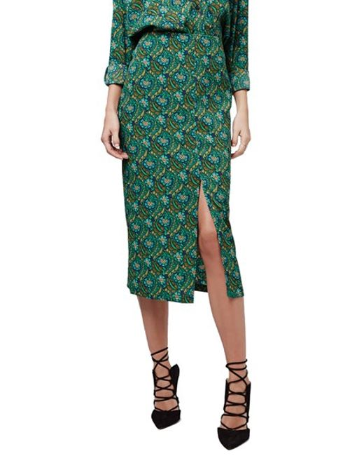 topshop floral print split front midi skirt in green