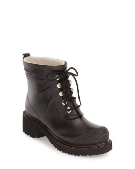 Ilse Jacobsen   Black Waterproof Lace-up Short Snow/rain Boot   Lyst