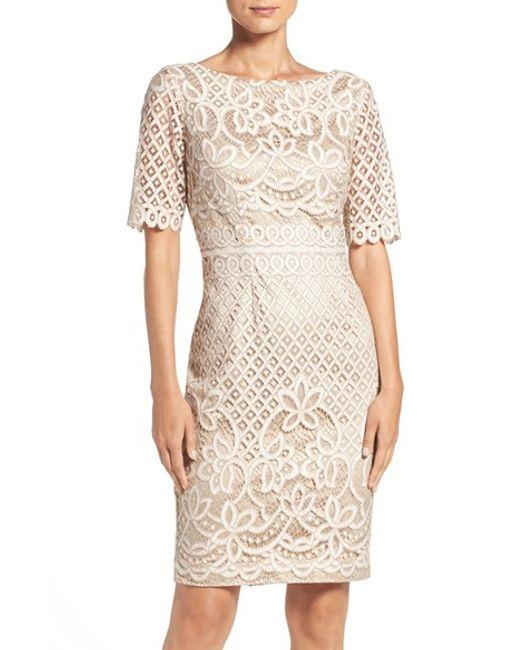 Eliza j illusion sleeve lace sheath dress
