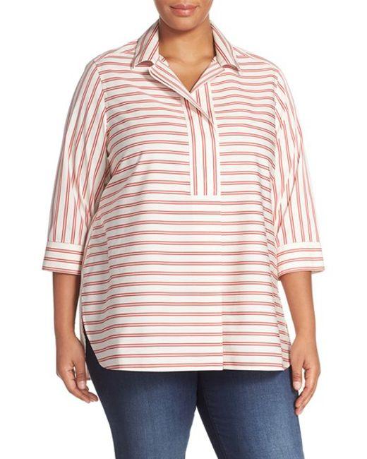 Foxcroft stripe no iron cotton tunic shirt in white for No iron cotton shirts