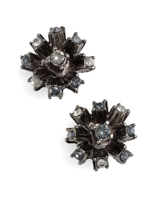 Oscar de la Renta | Black Enamel Orchid Earrings | Lyst