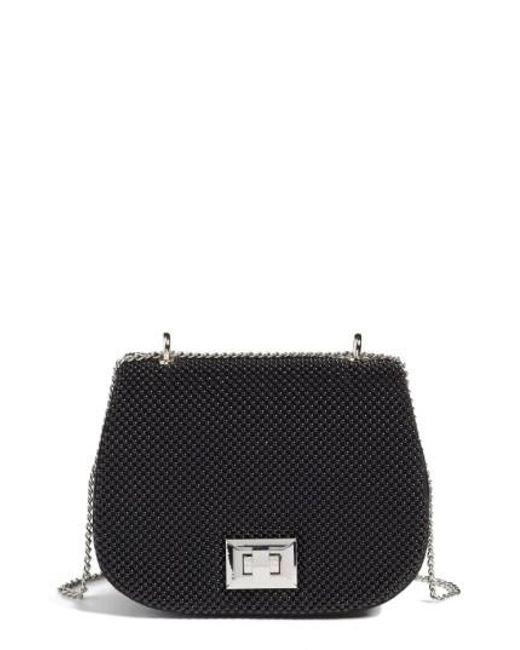 Whiting & Davis | Black Bubble Mesh Saddle Bag | Lyst