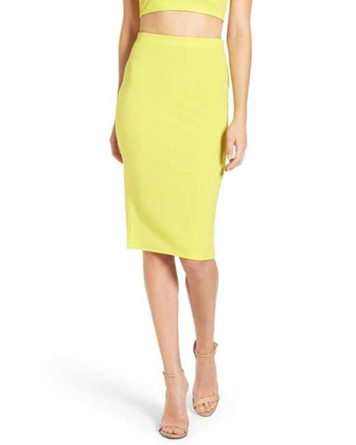 missguided ribbed midi skirt in yellow lime lyst