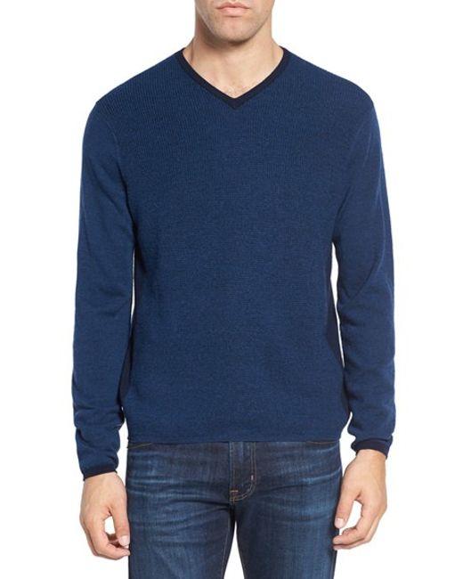 Zachary Prell   Blue V-neck Colorblock Merino Wool Pullover for Men   Lyst