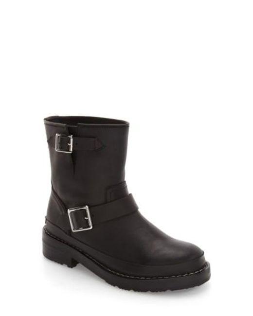 Hunter | Black Biker Water Resistant Leather Boots | Lyst