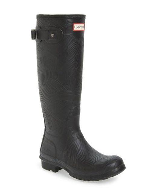 Hunter | Black Original Tall Wave Rain Boot | Lyst