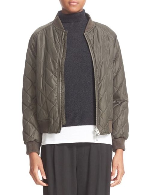 Vince Quilted Bomber Jacket In Grey Lyst