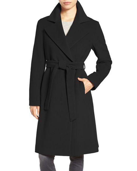 Cinzia rocca Wool-Blend Long Wrap Coat in Black