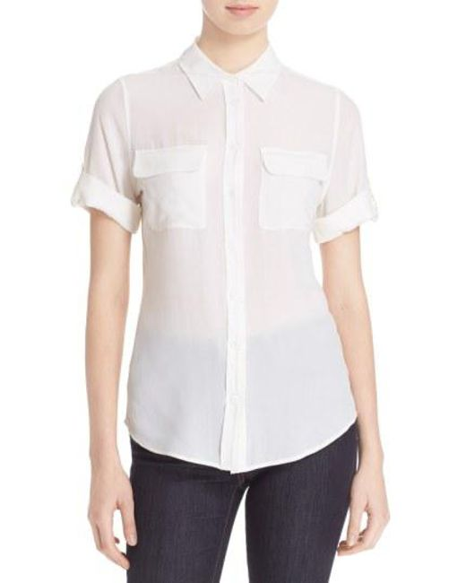 Equipment - Black Slim Signature Short Sleeve Silk Shirt - Lyst