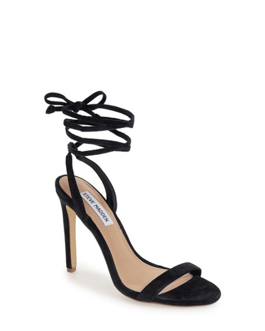 Steve Madden Pattrice Ankle Wrap Sandal In Yellow Black