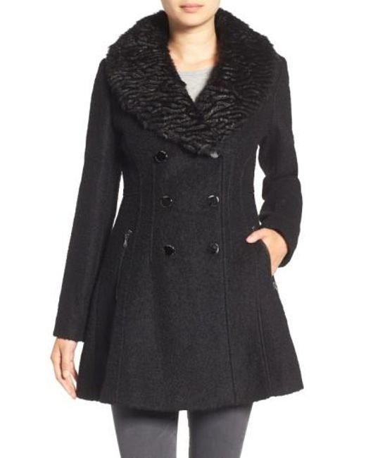 Guess Boucle Fit Amp Flare Coat With Faux Fur Collar In