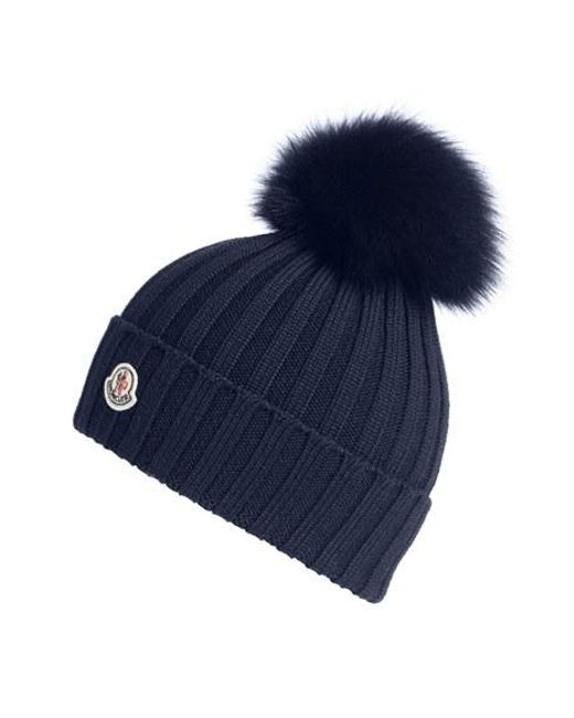 moncler bobble hat in blue save 9 lyst