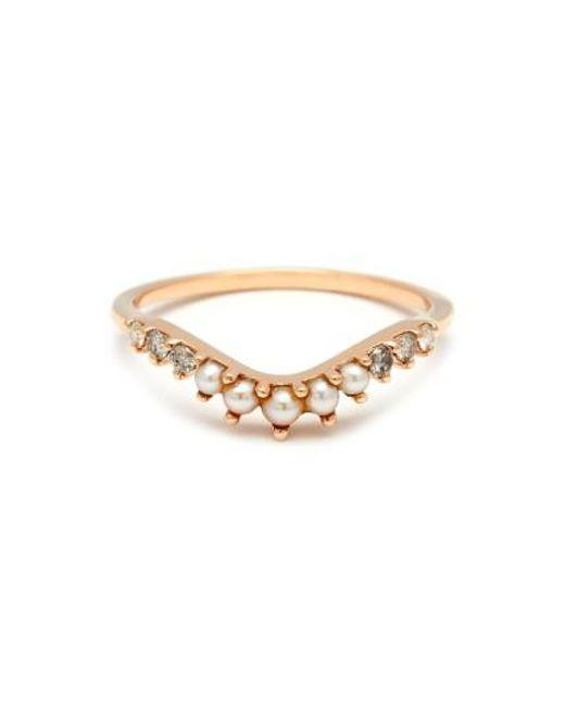 Anna Sheffield | Metallic 'tiara Curve' Diamond & Seed Pearl Ring | Lyst