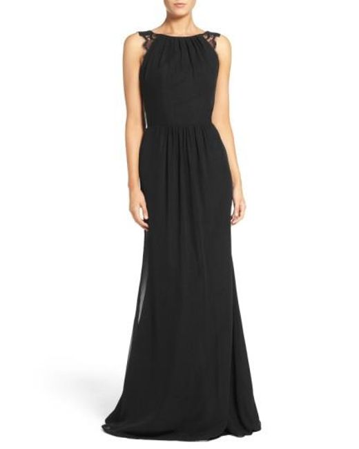 Hayley Paige Occasions   Black Lace Strap Gathered Chiffon Gown   Lyst