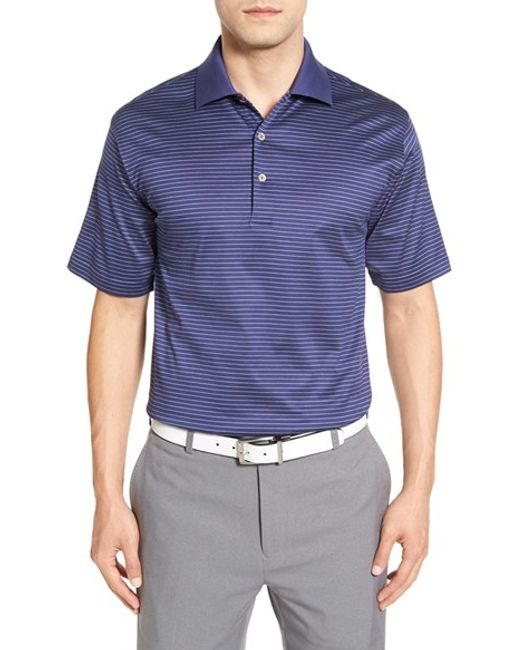 Peter millar 39 subconscious 39 stripe golf polo in blue for for Peter millar women s golf shirts