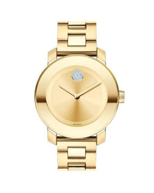 Movado   Metallic 'bold' Crystal Marker Bracelet Watch   Lyst