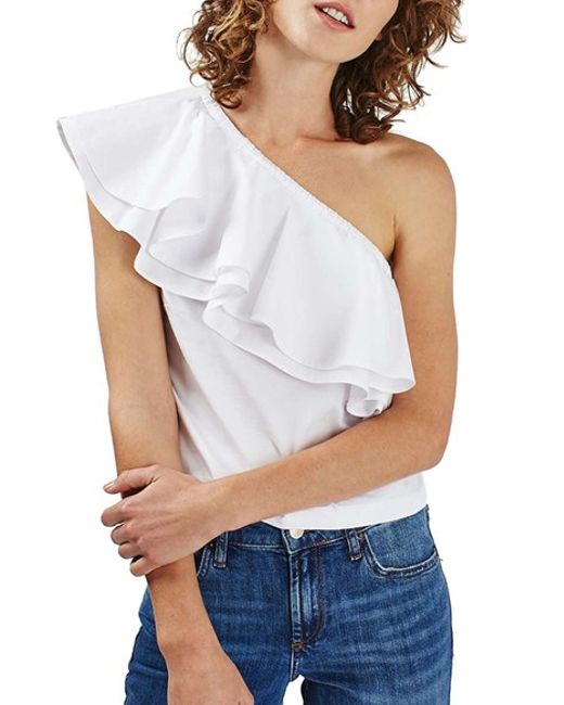 topshop ruffle one shoulder poplin top in white lyst. Black Bedroom Furniture Sets. Home Design Ideas