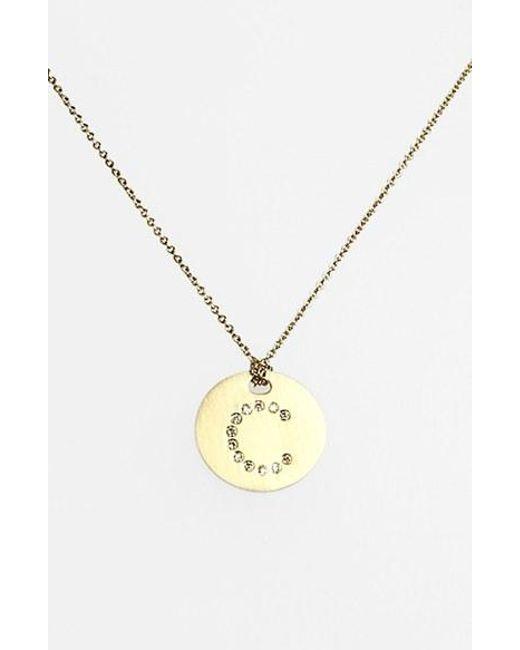 Roberto Coin | Metallic 'tiny Treasures' Diamond Initial Disc Pendant Necklace - C | Lyst