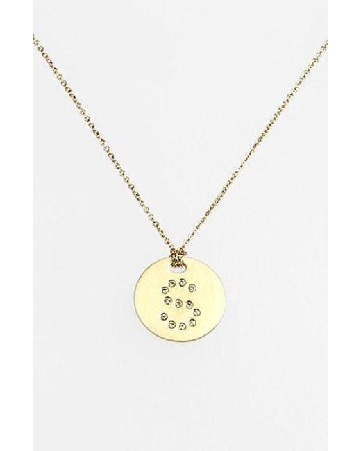 Roberto Coin | Metallic 'tiny Treasures' Diamond Initial Disc Pendant Necklace - S | Lyst