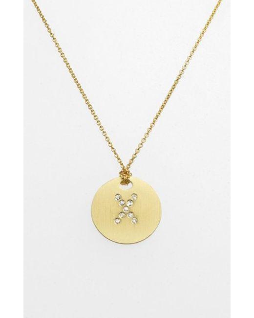 Roberto Coin | Metallic 'tiny Treasures' Diamond Initial Disc Pendant Necklace | Lyst