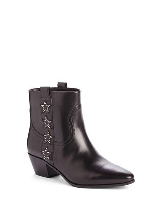 Saint Laurent | Black Rock Star Leather Ankle Boots | Lyst