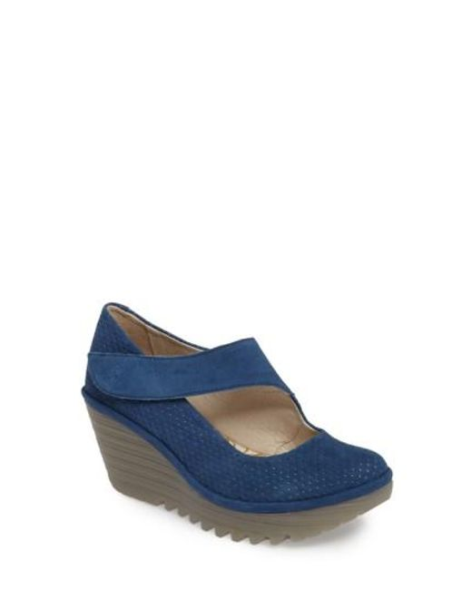 Fly London | Blue Yeon Mary Jane Platform Wedge | Lyst