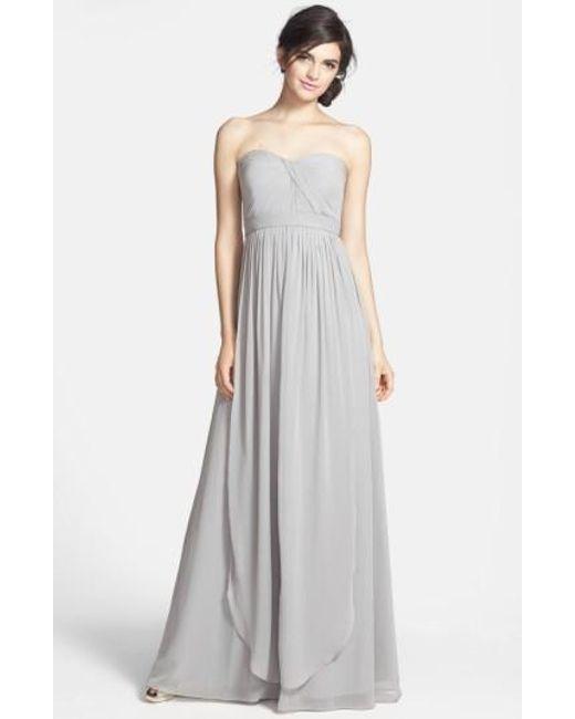 Jenny Yoo | Gray 'aidan' Convertible Strapless Chiffon Gown | Lyst