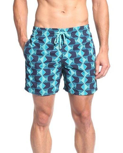 Vilebrequin graphic fish print swim trunks in blue for men for Fishing swim trunks