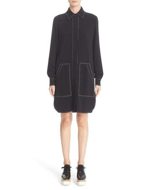 Stella McCartney | Black Topstitch Shirtdress | Lyst