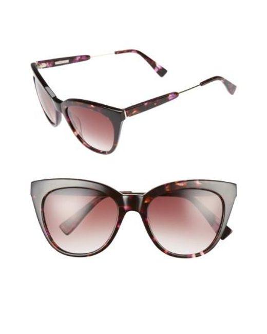 Derek Lam | Brown 'lenox' 53mm Cat Eye Sunglasses - Purple Tortoise | Lyst