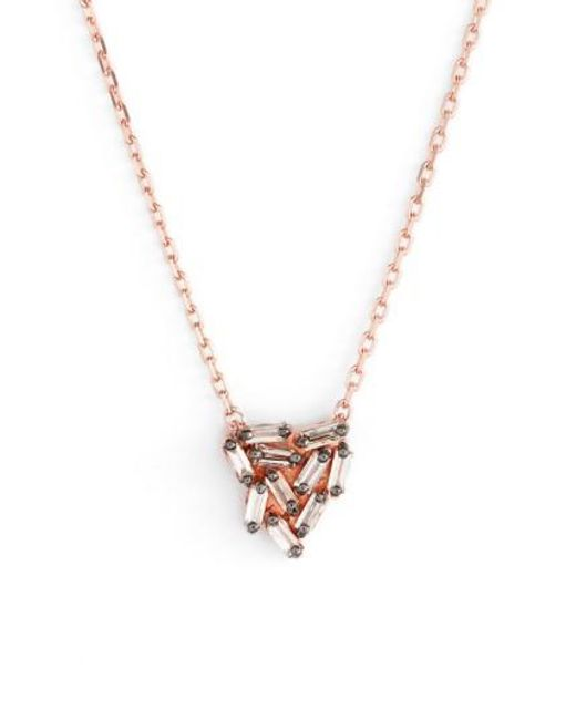 Suzanne Kalan | Metallic 'fireworks' Diamond Baguette Mini Triangle Pendant Necklace | Lyst