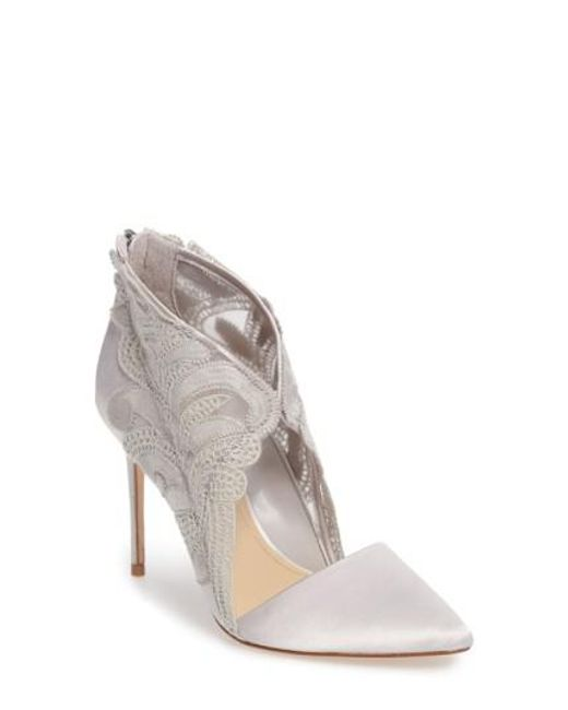 Imagine Vince Camuto | Gray Obin Lace Detailed Pointy Toe Pump | Lyst
