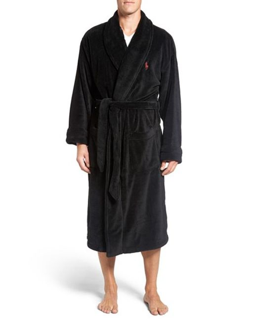 polo ralph lauren microfiber robe in black for men lyst. Black Bedroom Furniture Sets. Home Design Ideas