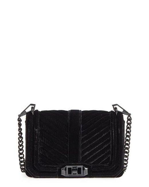 Rebecca Minkoff | Black Small Love Quilted Velvet Crossbody Bag | Lyst