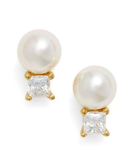 Majorica | White Cubic Zirconia & Faux Pearl Stud Earrings | Lyst