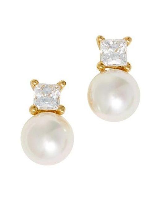 Majorica | White Cubic Zirconia & Faux Pearl Stud Earrings | Lyst