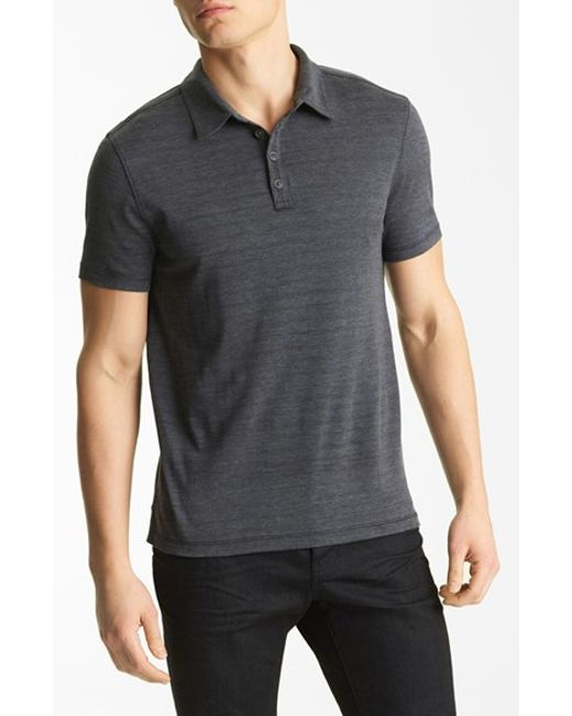 John Varvatos | Gray 'hampton' Silk & Cotton Polo for Men | Lyst