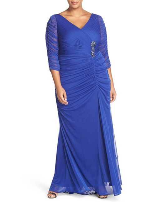 Adrianna Papell   Blue Beaded Mesh Gown   Lyst