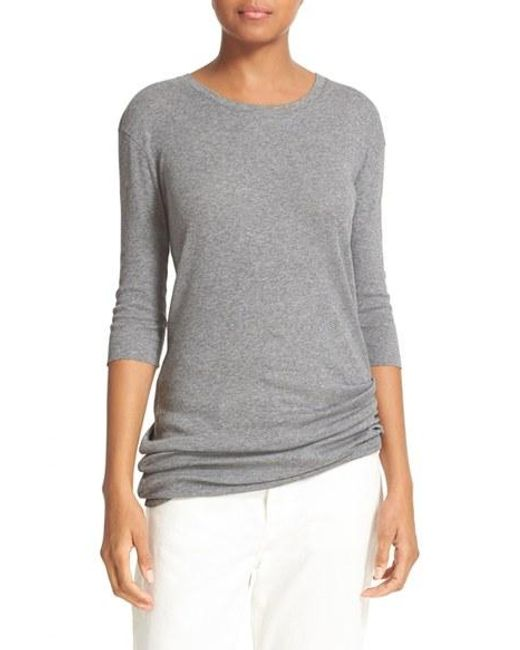Vince elbow sleeve pima cotton tee in gray lyst for Vince tee shirts sale