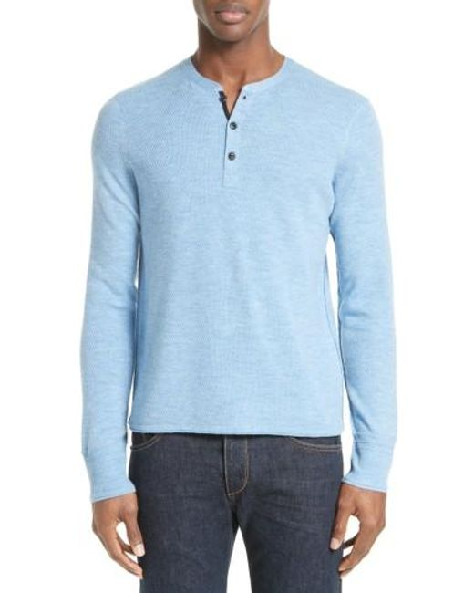 Rag & Bone | Blue Gregory Wool Blend Henley Sweater for Men | Lyst