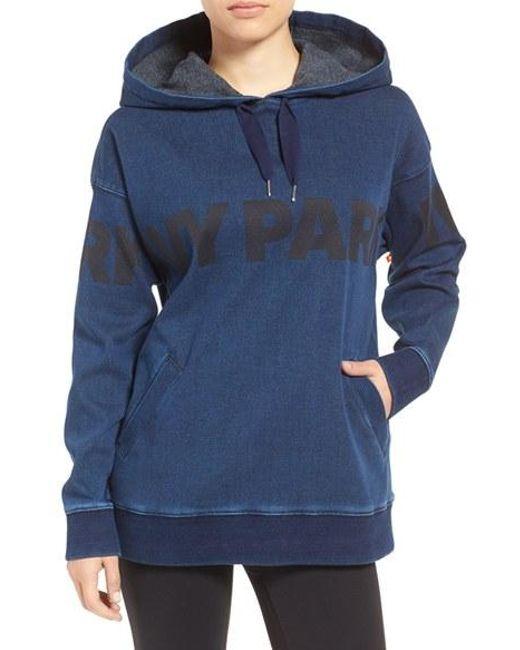ivy park logo denim hoodie in blue lyst. Black Bedroom Furniture Sets. Home Design Ideas