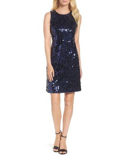 Taylor Dresses | Blue Sequin A-line Dress | Lyst